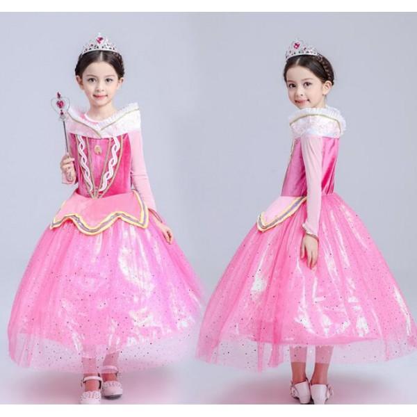 Light pink Velvet long sleeves girls kids children princess toddlers ...