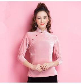 Light pink velvet long sleeves stand collar competition performance ballroom latin dancing tops