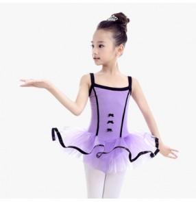 Light pink violet purple leotards tutu skirted girls kids children baby modern dance ballet gymnastics practice dance dresses outfits costumes