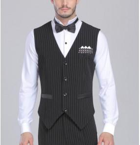 Men's  latin dance vest ballroom dance top black and white striped