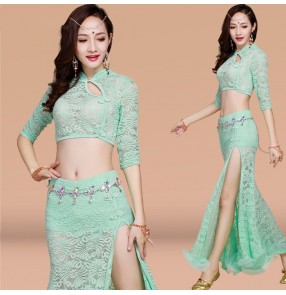 Mint  black red light pink white half sleeves lace sexy fashion competition stage performance women's belly dancing costumes dresses