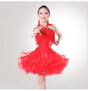 Mint Light Pink Royal Blue Red Rhinestones Competition Tassels Luxury  Handmade Latin Salsa Cha Cha Dance