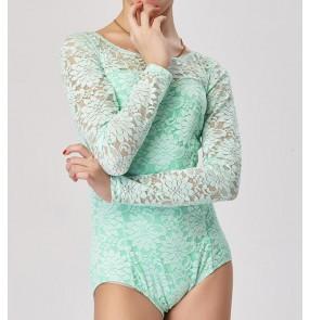 Mint royal blue light green lace patchwork long sleeves girls kids children gymnastics exercises latin ballroom dance tops leotards bodysuits