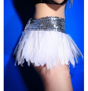 Nature feather short length hot dance girls women's sexy fashion singer dancers jazz ds night club bar stage performance skirts