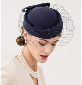 Navy blue handmade 100% wool fashion women's evening wedding party cocktail banquet fascinators top hats fedoras