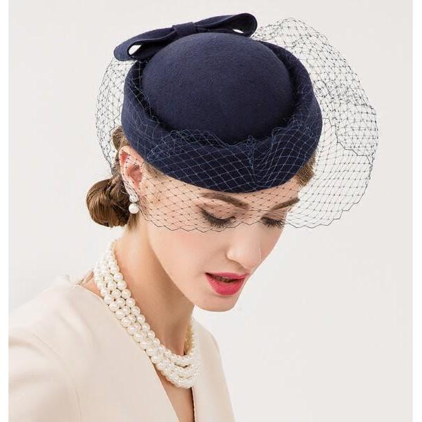 Navy blue handmade 100% wool fashion women's evening wedding party cocktail  banquet fascinators top hats fedoras