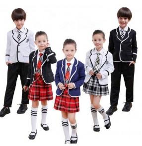 Navy blue white black England 4in1 boys kids children girls kindergarten school stage performance play recite chorus dresses outfits uniforms