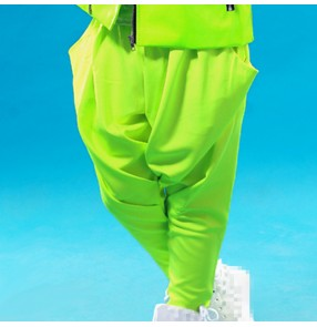 Neon fluorescent green baggy hip fashion teen growth boys kids children hip hop modern stage dance jazz dancing party dance harem pants