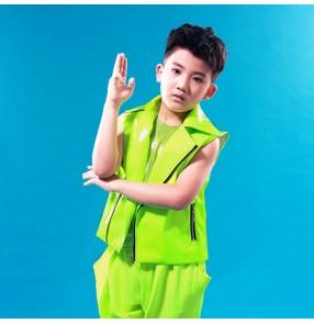 Neon green fluorescent sleeveless lapel collar boys kids children fashion jazz hip hop dancers drummer performance dance vests waistcoats
