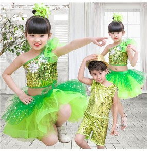Neon green sequins flower girls boys modern dance jazz singers dancers school performance outfits costumes