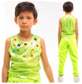 Neon green shiny glitter boys kids children toddlers fashion hip hop jazz modern dance performance cosplay stage vest tops