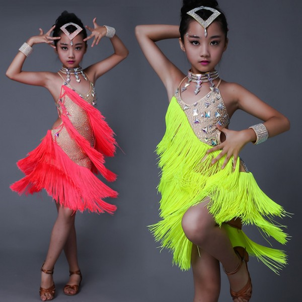 fb63349958cff Neon green yellow coral fringes rhinestones diamond competition girls  children baby kids luxury latin salsa cha cha dance dresses