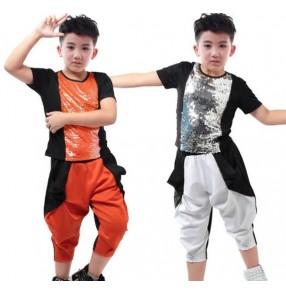 Neon orange silver white black sequins patchwork fashion boys kids children teen student competition hip hop modern dance harem tshirt  pants