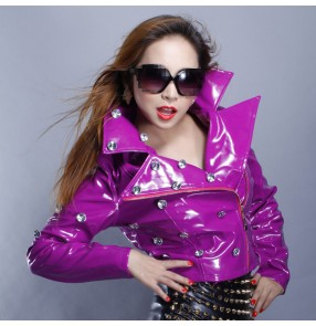 Neon Violet green orange rhinestones lapel collar fashion sexy women's girls motor cycle competition hip hop singer dj dancing short leather jacket tops coats