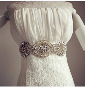 Off White ivory wine red black silver silk satin brides wedding evening dress dance dress rhinestones waistband sashes belt