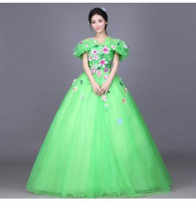 Opening dancing Green flowers slash neck long length big skirted women's ladies competitionsingers stage performance party evening dancing cosplay dresses