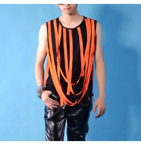 orange fringes black patchwork fashion men's male night club stage performance modern jazz pole dance hip hop dancing tops vests t shirt