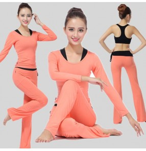 Orange purple fuchsia black women's breathable gyms fitness yoga dance clothes workout sports bra shirt capris leggings costumes outfits
