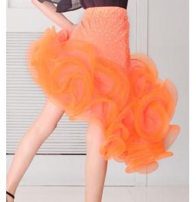 Orange red dark green rhinestones irregular ruffles hem girls kids children competition performance latin salsa dance skirts outfits