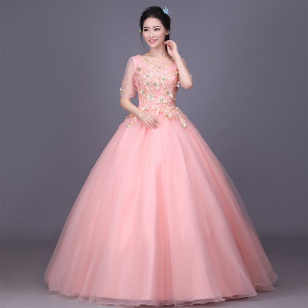 Pink coral half sleeves appliques embroidery women\'s ladies fashion ...