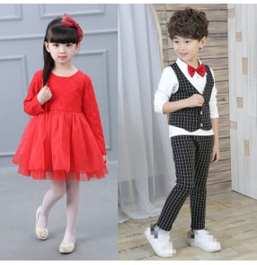 Plaid England style red lace long sleeves boys girls kids children performance competition modern dance jazz singer performance cosplay dresses costumes