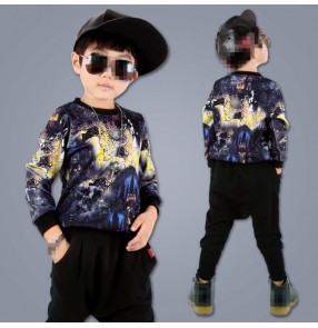Printed boys kids children modern dance competition school play performance hip hop jazz drummer  dancing outfits costumes