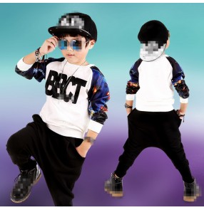Printed personality boys kids children stage performance school competition hip hop jazz dance costumes outfits
