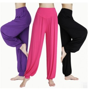 Purple violet black red green fuchsia gray women's yoga pants bloomers smooth Taichi Full length no Shrink anti statics  dance pants trousers