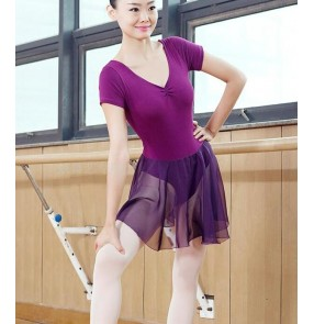 Purple violet black short sleeves women's ladies competition gymnastics modern dance ballet latin salsa dance leotards bodysuit dresses