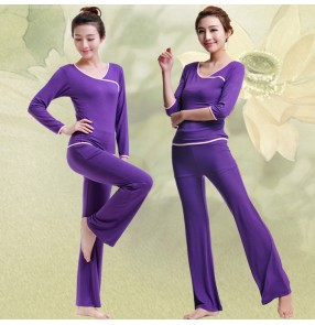 Purple violet green red black women's girls modal women's girls breathable half sleeves gymnastics sports running jogging yoga clothing costumes