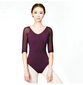 Purple violet navy half sleeves sexy modern dance women's ladies gymnastics practice exercises ballet  latin dance leotards bodysuits catsuits