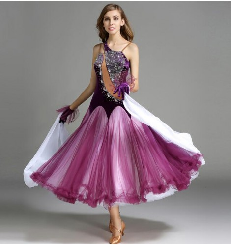 135a9a20f6 purple-violet-red-dark-green-white-patchwork-velvet-rhinestones-women-s- ladies-competition-professional-performance-ballroom-tango-waltz-dance- dresses-5339- ...