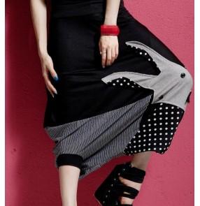 Rabbit pattern striped polka dot patchwork women's ladies  fashion loose baggy hip hop dance harem pants drop crotch trousers