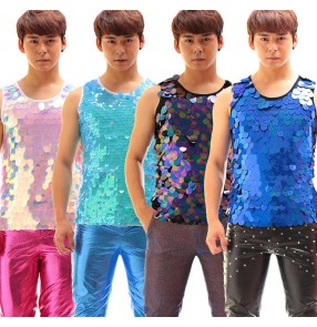 Rainbow black turquoise royal blue pink laser glitter sequins men's competition night club jazz singers pole dance vests tops