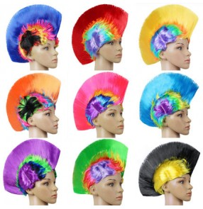 Rainbow colored men's women's party dance performance props faux hair cos play funny comedy samba dance comb head cover wigs