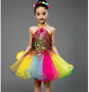 Rainbow colored patchwork sequins glitter girls kids princesss school competition performance modern jazz dance singers show play dancing dresses