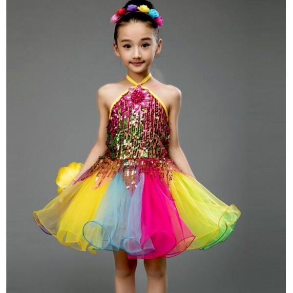 b47b95baf05 Rainbow colored patchwork sequins glitter girls kids princesss school  competition performance modern jazz dance singers show play dancing dresses