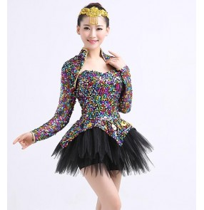 Rainbow colored sequins shiny glitter stage performance modern dance women's jazz singers dancers costumes dresses