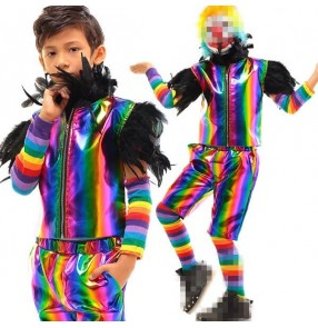 Rainbow colored striped fashion leather teen student boys kids children clown cosplay party jazz stage performance dance wear vest and shorts