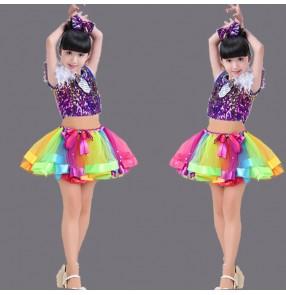 Rainbow colored white sequins glitter stage performance girls kids children modern dance jazz singers dancers performance dresses