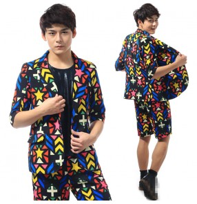 Rainbow colorful hounds tooth printed men's male fashion performance cosplay jazz singers magician dancing long sleeves blazers shorts
