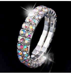 Rainbow colorful rhinestones girls women's competition latin ballroom dance hand band wrist bangles arm band