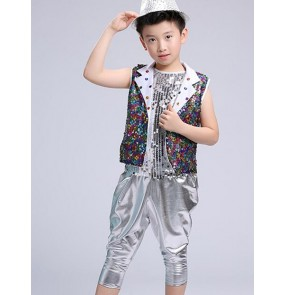 Rainbow colorful sequins silver hot pink modern dance boys girls kids jazz singers dancers performance outfits costumes