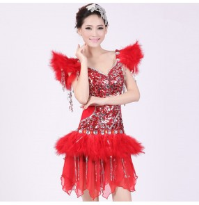 Red and silver sequins feather sexy spandex women's ladies dancers competition cos play party jazz singer dancing outfits bodysuits
