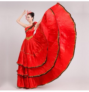 Red black flamenco petal women's girls spanish folk bull dance dresses opening chorus performance cosplay long dresses outfits