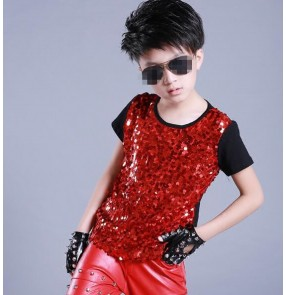 Red black fuchsia patchwork sequins glitter paillette short sleeves competition performance hip hop jazz ds drummer contest tops t shirts
