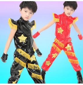 Red black gold fringes leather modern dance fashion boys girls kid children baby competition jazz drummer hip hop dance costumes outfits