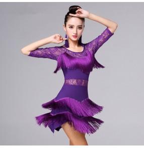 Red black royal blue fuchsia hot pink violet purple lace half sleeves fringes tassel girls women's competition gymnastics latin salsa cha cha dance dresses