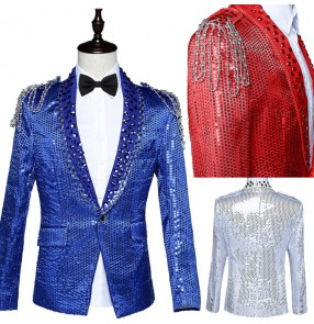 Red black royal blue sequins paillette lapel collar glitter stage performance shoulder with fringes magician singer jazz cos play party dancing blazers coats tops