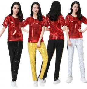 Red  black silver yellow sequins fabric paillette women's girls modern dance hip hop jazz dance singer dancers dancing outfits costumes